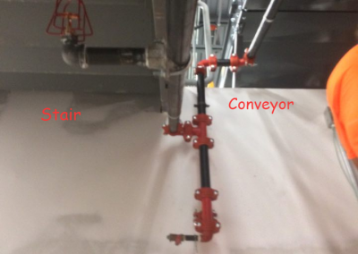 sprinkler coverage below stair and conveyor